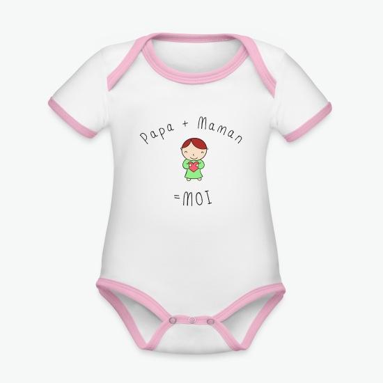 Body Bébé bio contrasté manches courtes papa + maman = moi bebe enfant coeur blanc/rose par Tshirt Family