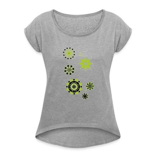 Plain c - Frauen T-Shirt mit gerollten Ärmeln