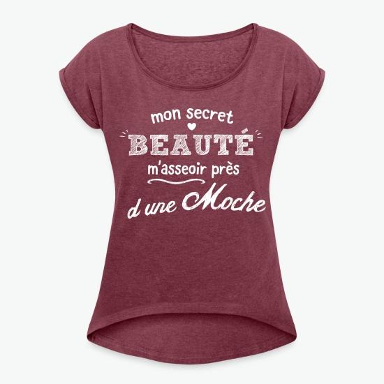 T-shirt Mon secret beauté rouge bordeaux chiné par Tshirt Family