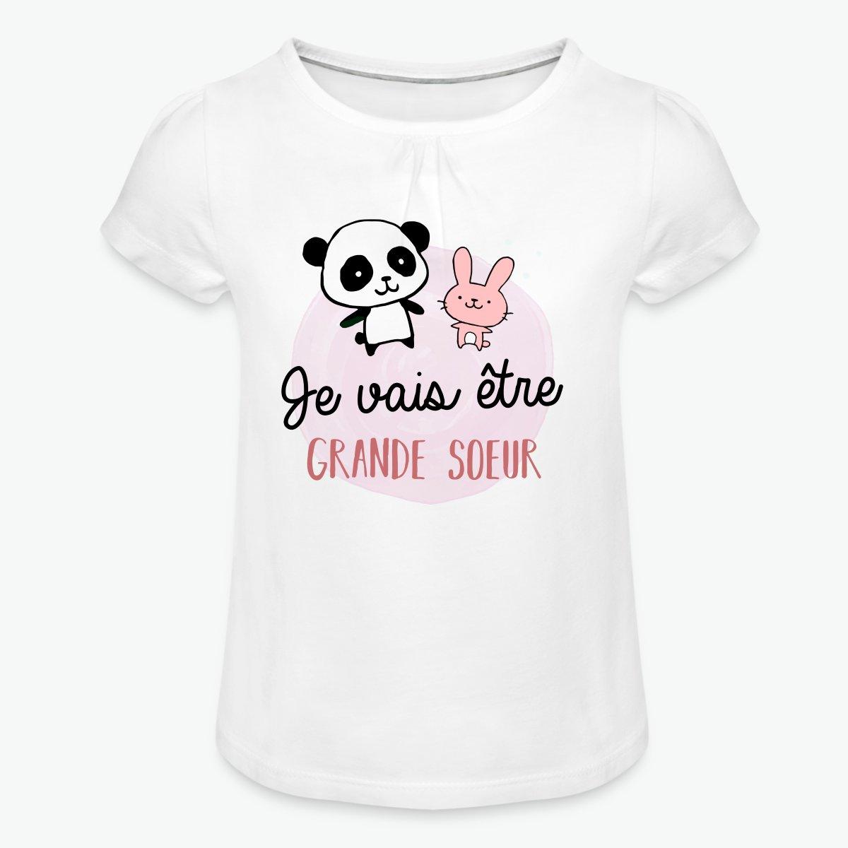 T Shirt à Fronces Au Col Fille Future Grande Sœur Bientôt Grande