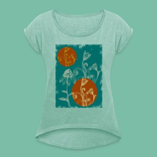 tshirt femme fleurs naïves - T-shirt à manches retroussées Femme