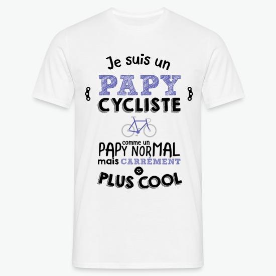 T-shirt Papy cycliste carrément plus cool blanc par Tshirt Family