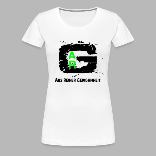 A.R.G. Damen  T - Shirt in Weiss mit Schwarz7Grünem Logo - Frauen Premium T-Shirt