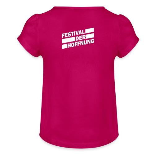 Mädchen T-Shirt Rückseite bedruckt - Mädchen-T-Shirt mit Raffungen