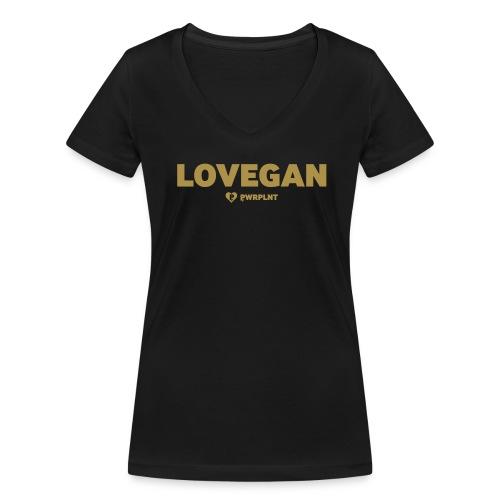 LOVEGAN front womens BIO v-neck shirt glitter gold simple - Women's Organic V-Neck T-Shirt by Stanley & Stella