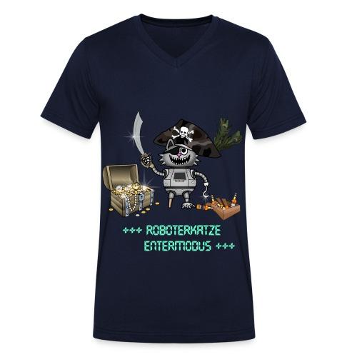 Roboterkatze Pirat - Männer Bio-T-Shirt mit V-Ausschnitt von Stanley & Stella
