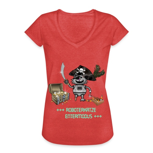 Roboterkatze Pirat - Frauen Vintage T-Shirt