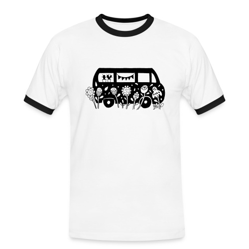 Flower Power Bus  - Männer Kontrast-T-Shirt