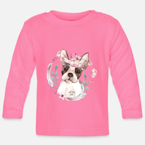 French Bully Flowers - Baby Langarmshirt