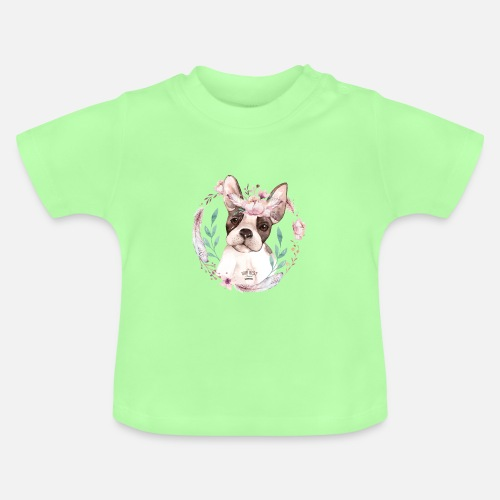 French Bully Flowers - Baby T-Shirt