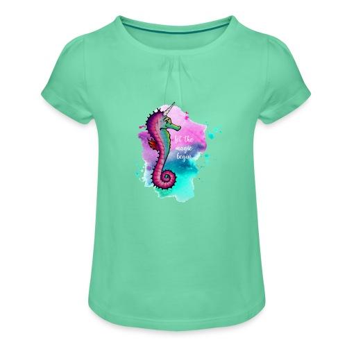 Mädchen Shirt – Seahorse Unicorn (Kinder) - Mädchen-T-Shirt mit Raffungen
