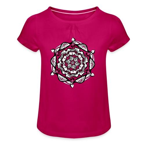 Mädchen Shirt – Mandala Flower (Kinder) - Mädchen-T-Shirt mit Raffungen