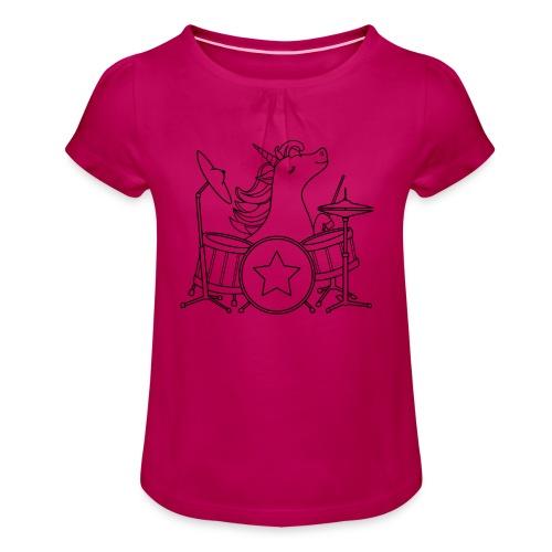 Einhorn rockt! (Mädchen-Shirt) - Mädchen-T-Shirt mit Raffungen