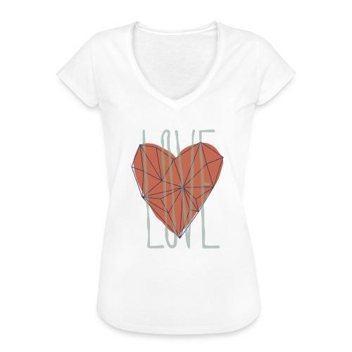 Coeur polygone rouge - Love symbole - T-shirt vintage Femme
