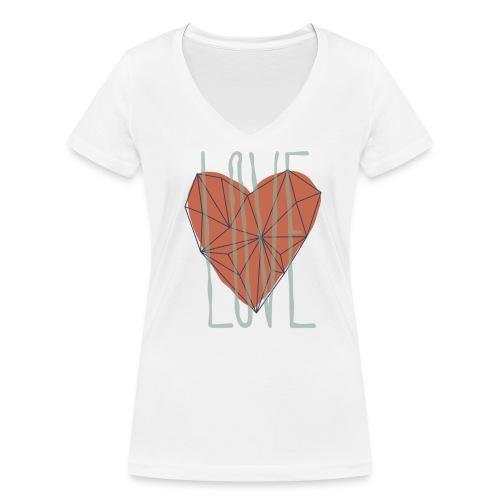 Coeur polygone rouge - Love symbole - T-shirt bio col V Stanley & Stella Femme