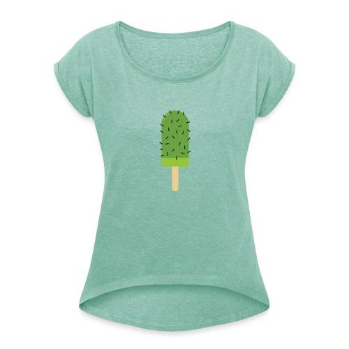 Cactus vrouwen opgerolde mouwen - Vrouwen T-shirt met opgerolde mouwen