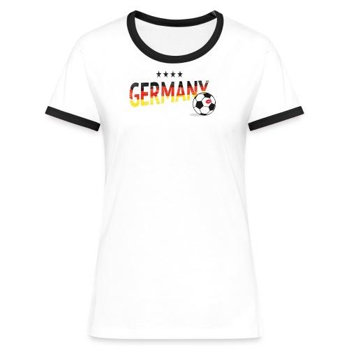 Fußball Fanshirt Deutschland - Frauen Kontrast-T-Shirt