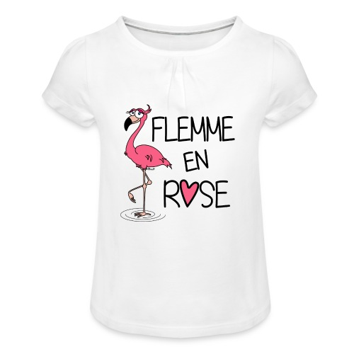T-shirt Enfant Fille Flamant Rose / Flemme en Rose  - T-shirt à fronces au col Fille