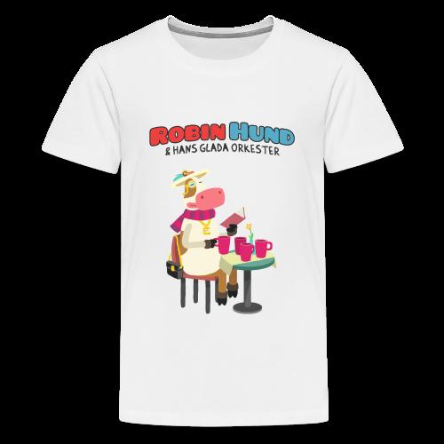 Barnens Robin Hund (kossa på kaffe) t-skjorta - Teinien premium t-paita