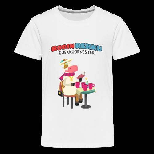 Lasten Robin Rekku (lehmä kahvilla) t-paita - Teinien premium t-paita