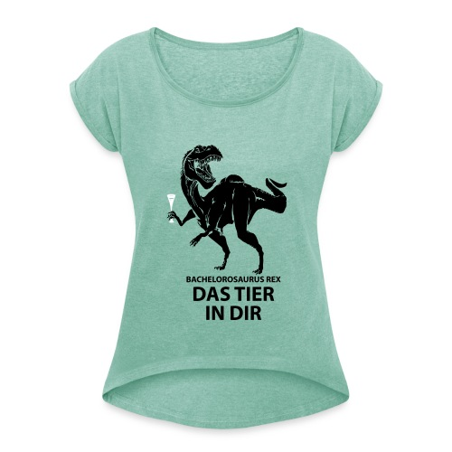 Bachelorosaurus - Frauen T-Shirt mit gerollten Ärmeln