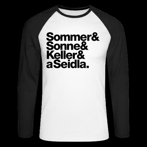 Sommer, Sonne, Keller und a Seidla - Herren Baseball Langarmshirt - 100% Baumwolle - #KLEINSTADT - Männer Baseballshirt langarm