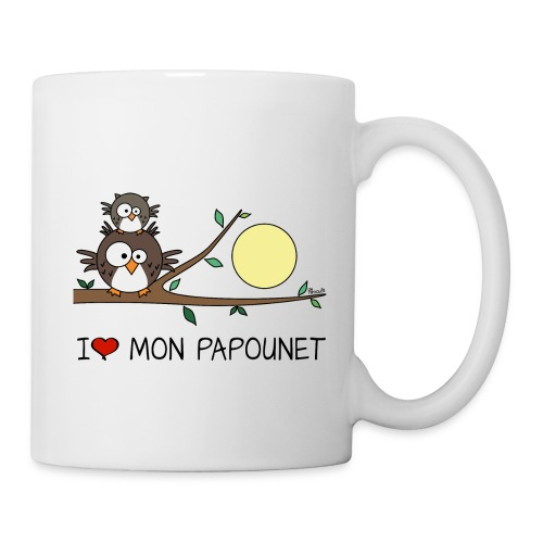 Mug Hibou Fête des Pères, I love mon papounet - Mug blanc