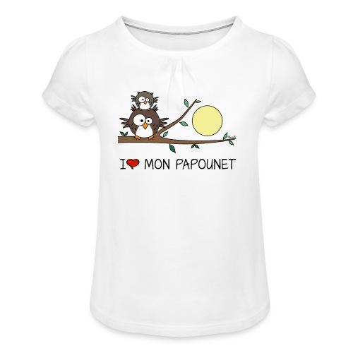 T-shirt Enfant Fille Hibou Fête des Pères I love mon papounet - T-shirt à fronces au col Fille