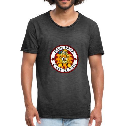 T-shirt Vintage Homme Lion, Mon Papa c'est le Roi - T-shirt vintage Homme