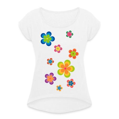 limited edition 03 flowerpower - Frauen T-Shirt mit gerollten Ärmeln