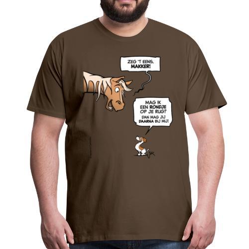 Een stoer voorstel (Jack Russell & paard) - Mannen Premium T-shirt