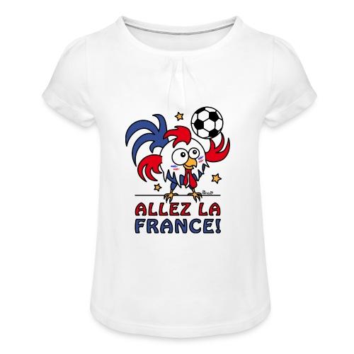 T-shirt Enfant Fille Coq Gaulois Allez La France - T-shirt à fronces au col Fille