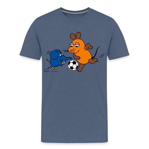 Maus und Elefant spielen Fußball - Teenager Premium T-Shirt