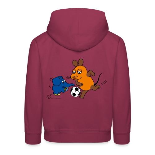 Maus und Elefant spielen Fußball - Kinder Premium Hoodie
