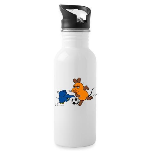 Maus und Elefant spielen Fußball - Trinkflasche