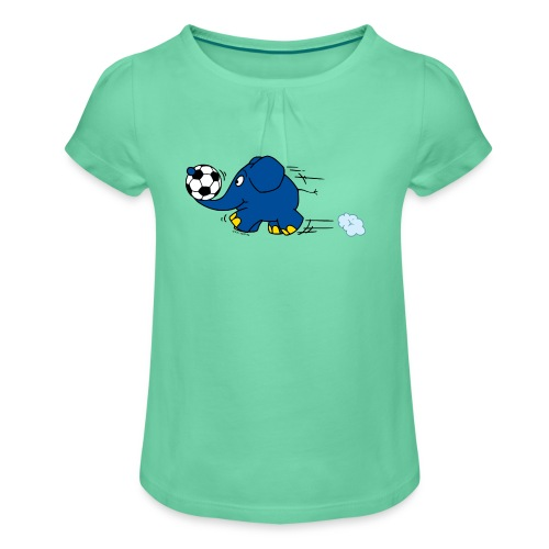 Elefant spielt Fußball - Mädchen-T-Shirt mit Raffungen