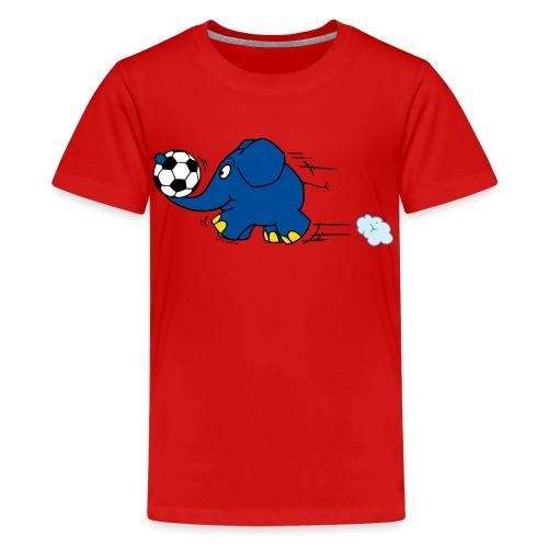 Elefant spielt Fußball - Teenager Premium T-Shirt
