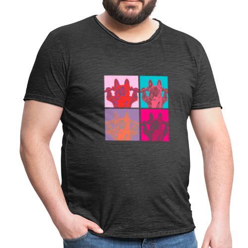 French Bull Dog Dumbbell Popart Heren - Mannen Vintage T-shirt
