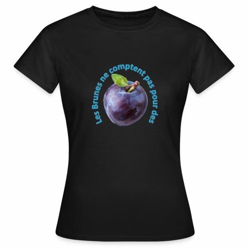 T-Shirt Brune - Texte bleu - T-shirt Femme