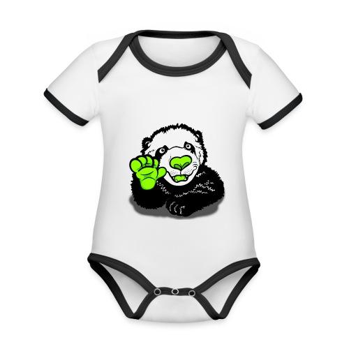 Hello Happy Panda  - Organic Baby Contrasting Bodysuit