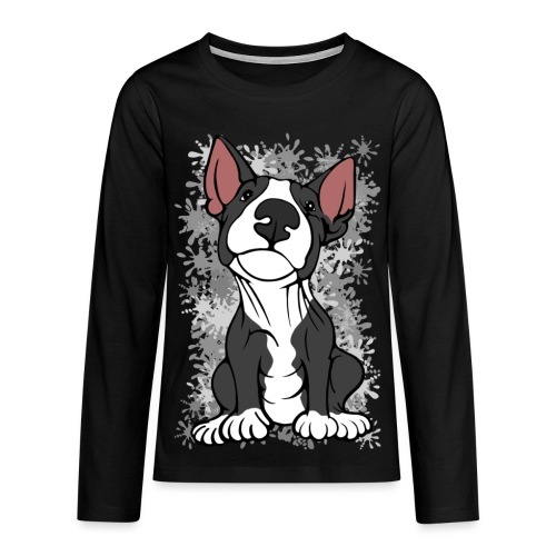 Cheeky Bull Terrier Black and White  - Teenagers' Premium Longsleeve Shirt