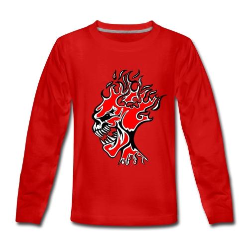 Flaming Burn Head  - Teenagers' Premium Longsleeve Shirt