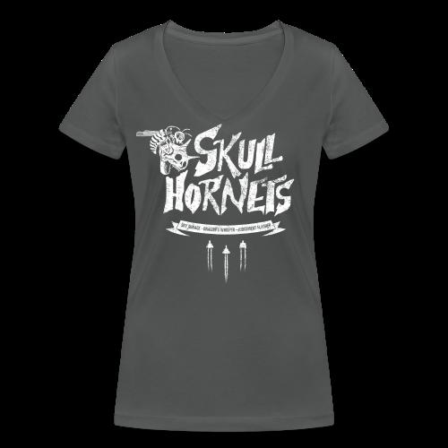 Skull Hornets - Women's Organic V-Neck T-Shirt by Stanley & Stella