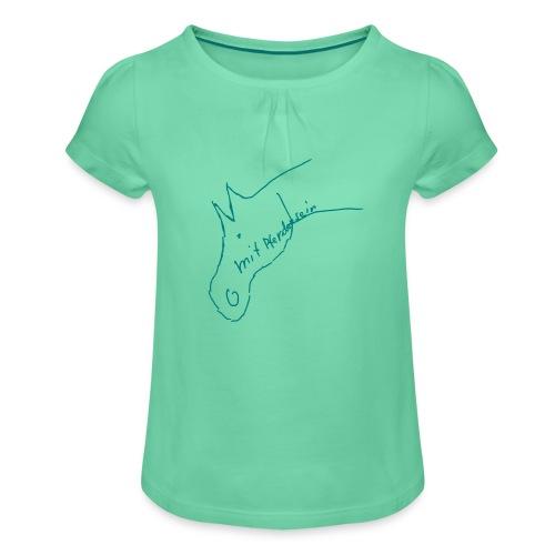 Pferdchen - Mädchen-T-Shirt mit Raffungen