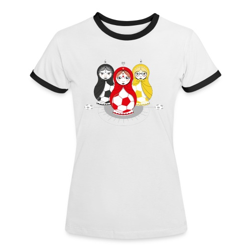 Fußball Matroschka Mädels - Frauen Kontrast-T-Shirt
