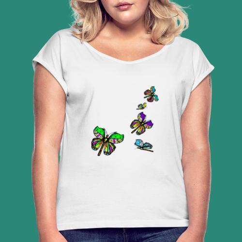 Schmetterlinge,Butterflies, T-shirt, - Frauen T-Shirt mit gerollten Ärmeln