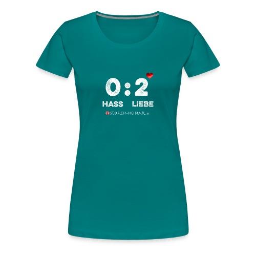 Frauen Premium T-Shirt - Egal, wie es beim Fußball läuft: Spielfreude, Fairplay, Solidarität und Vielfalt sind unsere Werte! Wer Fußball mit Nationalismus und Hass verbindet, bekommt die rote Karte und hat verloren.