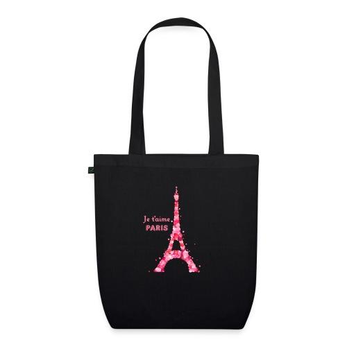 bag je t'aime Paris noir - Sac en tissu biologique