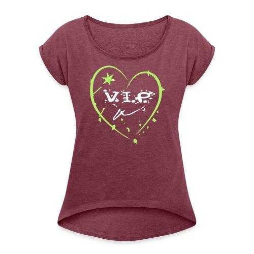 Herz - Frauen T-Shirt mit gerollten Ärmeln