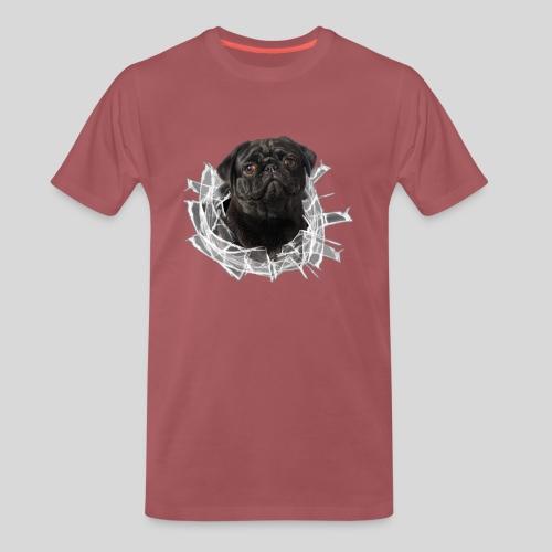 Schwarzer Mops im Glas Loch - Männer Premium T-Shirt